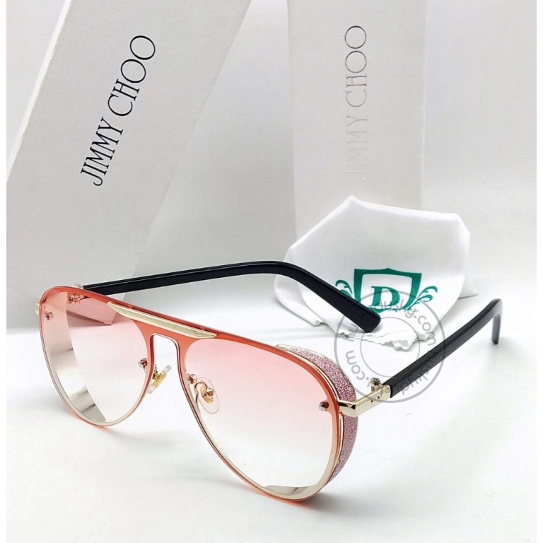 Jimmy Choo Branded Multi Color Double Shade Red&Pink Glass Women's Sunglass For Woman or Girl JC-322 Black Stick Frame Gift Sunglass