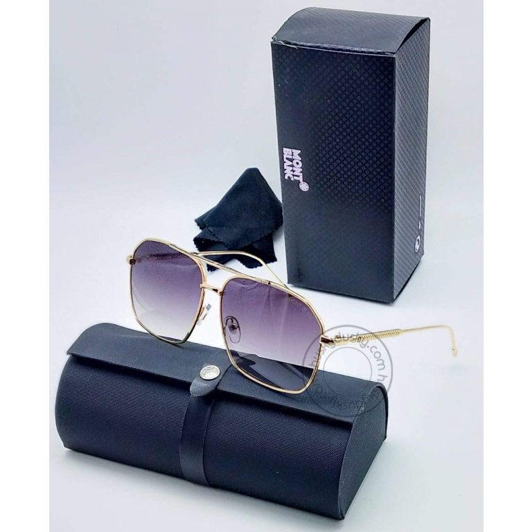 Mont Blanc MB-44 Double Shade Purple Glasses Men's and Women's Sunglass For Man and Woman Or Girls Gold Stick Unisex gift Sunglass