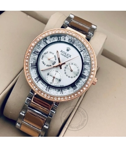 Rolex Two-Tone starp Women's Chronograph RLX-260 Watch for Girl or Woman Light Green Dial Diamond Case Best Gift For Women