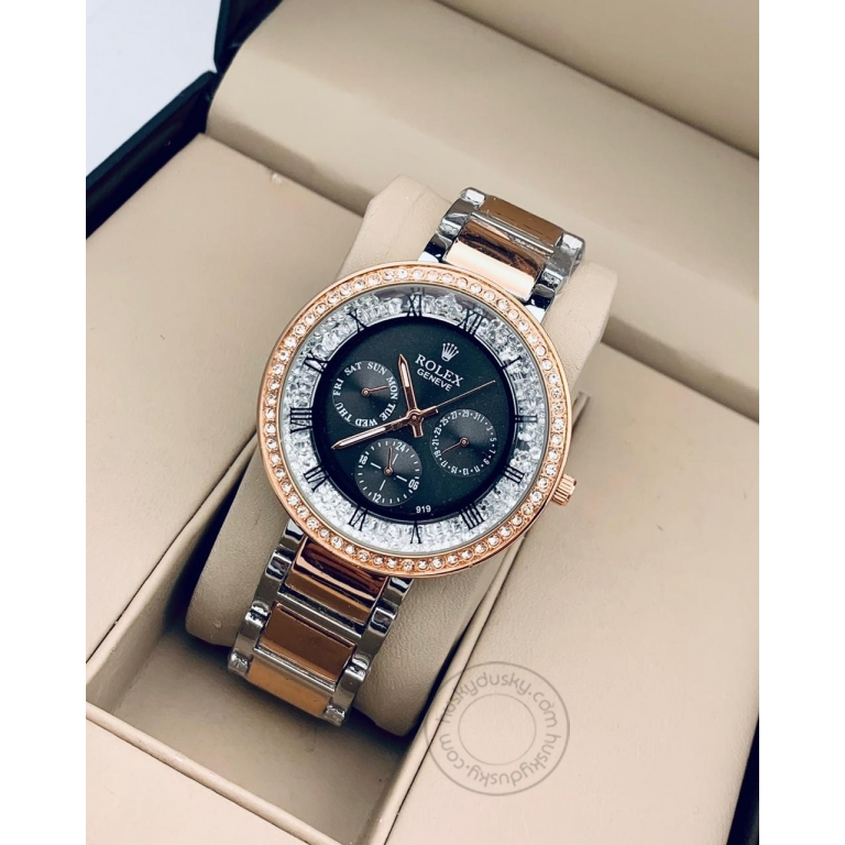 Rolex Two-Tone starp Women's Chronograph RLX-270 Watch for Girl or Woman Black Dial Diamond Case Best Gift For Women