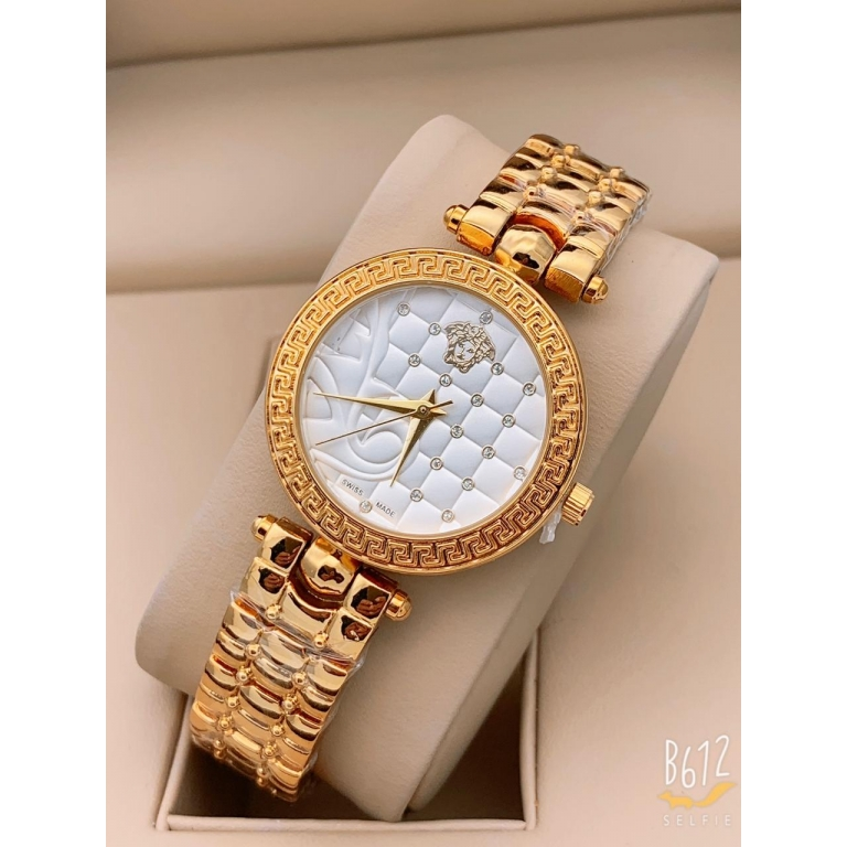 Versace Golden New Stylish Branded Women's Watch For Women and Girls White Dial VER-331