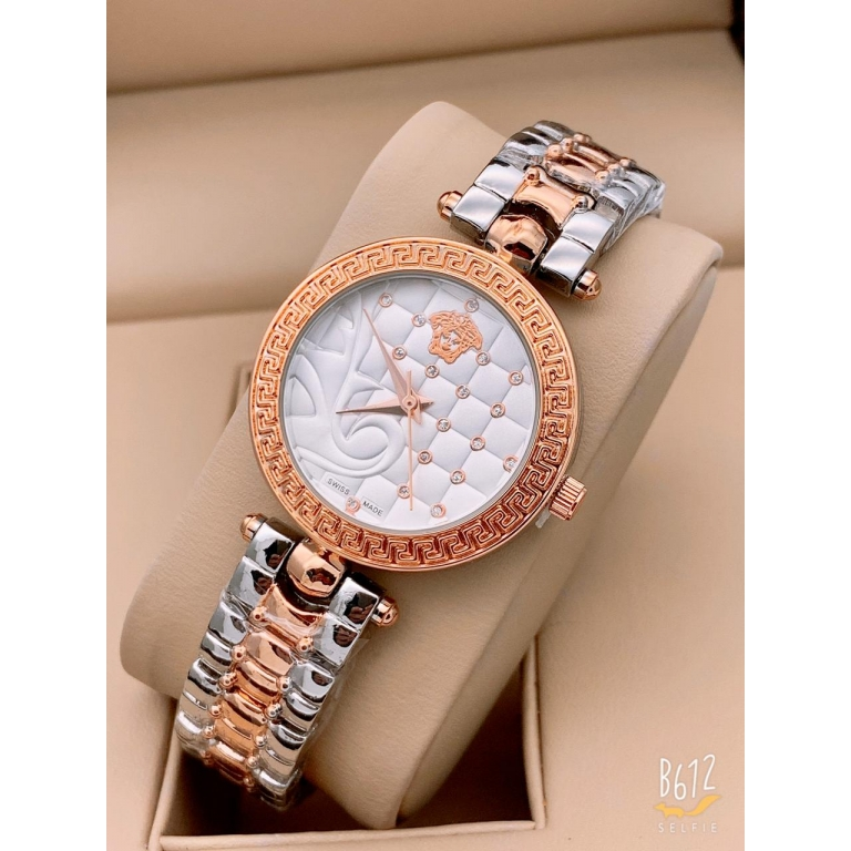 Versace Multi Color Rose Gold New Stylish Branded Women's Watch For Women and Girls White Dial VER-333