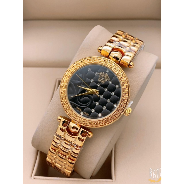 Versace Golden New Stylish Branded Women's Watch For Women and Girls Black Dial VER-332