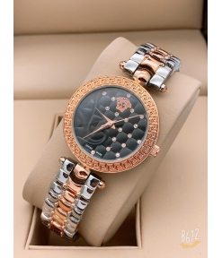 Versace Multi Color Rose Gold New Stylish Branded Women's Watch For Women and Girls Black Dial VER-335