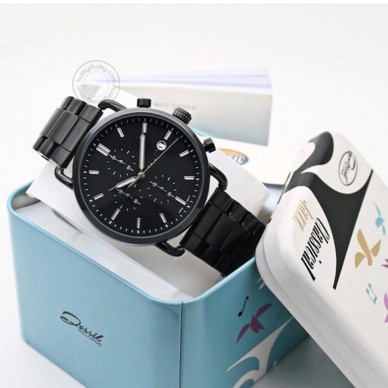 Imported Fs555 Black Dail With Chornograph Date Stainless Steel Straps Men's Watch For Man