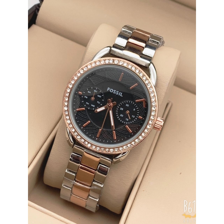 Fossil Multi Color Metal Diamond's Ring Women's Watch for Girl or Woman Day And Date Black Dial ES4255 - Gift