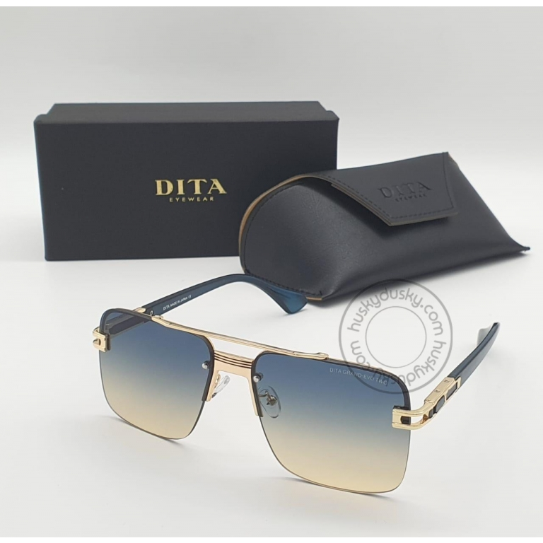 DITA Double Shade Gold&Blue Color Glass Man's Women's Sunglass for Man Woman or Girl DT-02 Gold Frame Blue Stick Gift Sunglass