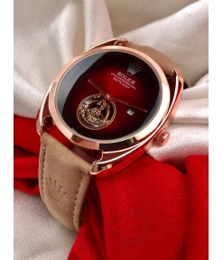 Rolex Oyster Perpetual DayTona Tan Leather Men's Watch For Man RLX-450 Red Dial Gold Case Date Gift Watch