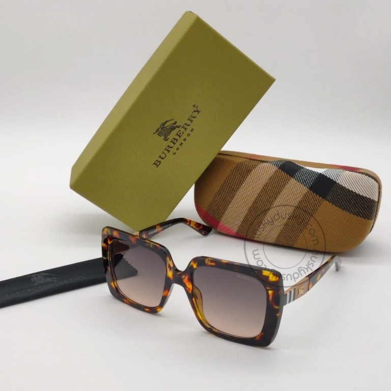 Burberry Branded Brown Glass Men's Sunglass For Man BB-25 Square Cheetha Frame Sunglass Gift