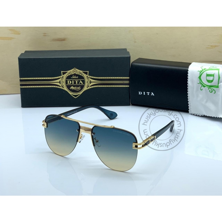 DITA Double Shade Gold&Blue Color Glass Man's Women's Sunglass for Man Woman or Girl DT-05 Gold Frame Blue Stick Gift Sunglass