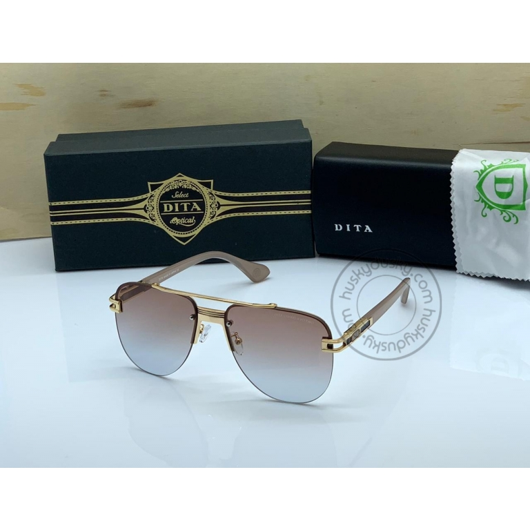 DITA Double Shade Brown&Blue Color Glass Man's Women's Sunglass for Man Woman or Girl DT-12 Gold Frame Brown Stick Gift Sunglass