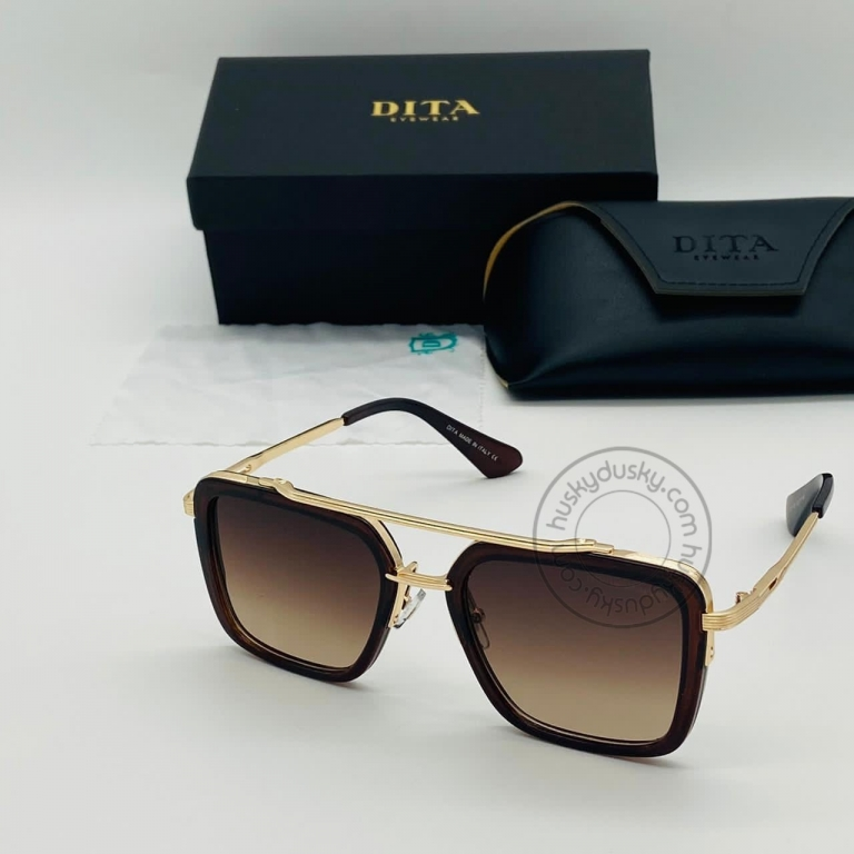 DITA Brown Color Glass Man's Women's Sunglass for Man Woman or Girl DT-17 Gold Frame Brown Stick Gift Sunglass