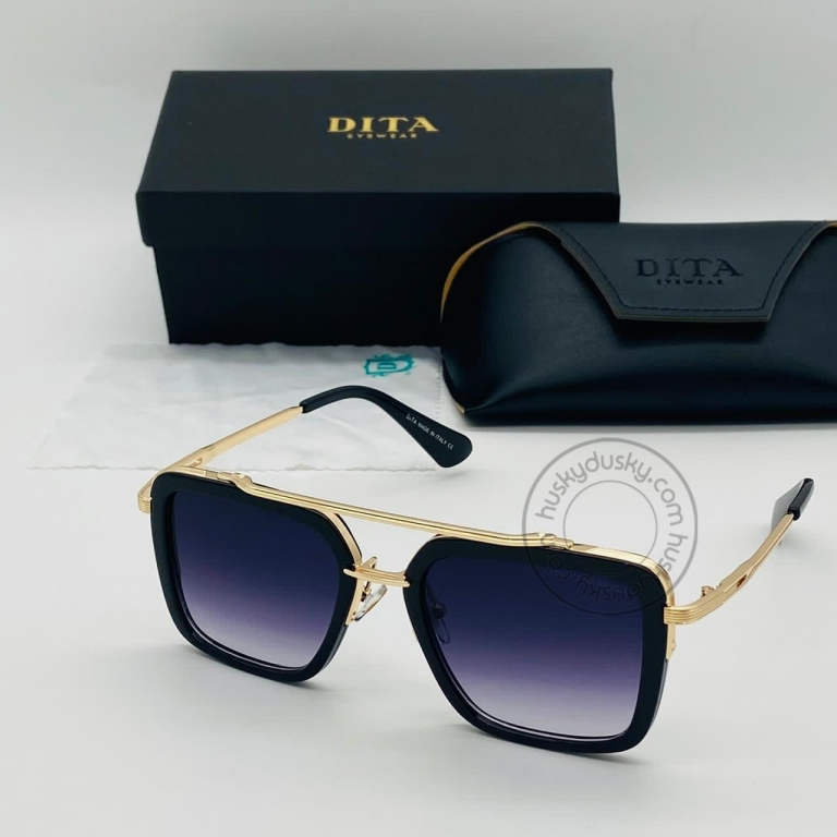 DITA Double Shade Purple&Blue Color Glass Man's Women's Sunglass for Man Woman or Girl DT-18 Gold Frame Black Stick Gift Sunglass