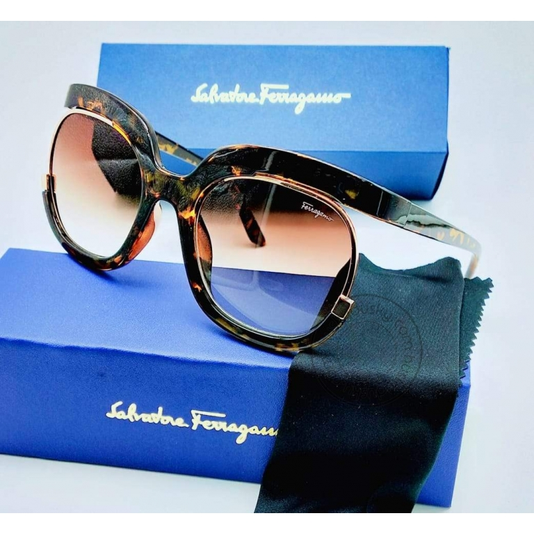 Salvatore Ferragamo Branded Red transparent Glass Women's Oval Sunglass for Woman or Girl SF-190 Cheetah Frame Gift Sunglass