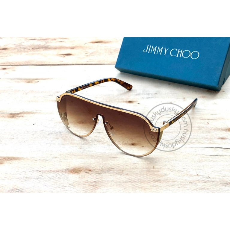 Jimmy Choo Branded Brown Shade Color Glass Men's Women's Sunglass For Man Woman or Girl JC-302 Gold& black Stick Frame Gift Sunglass