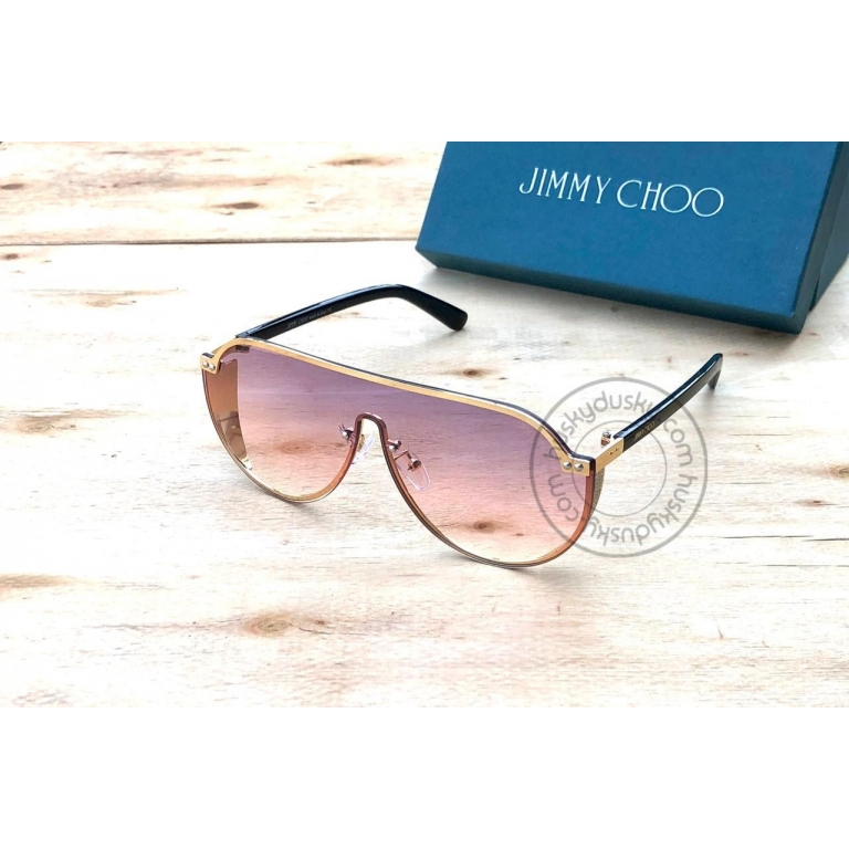 Jimmy Choo Branded Multi Color Purple&Red Color Glass Men's Women's Sunglass For Man Woman or Girl JC-303 Gold&Black Stick Frame Gift Sunglass