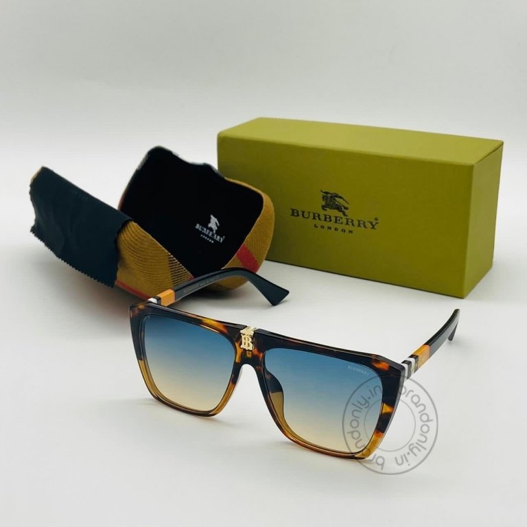 Burberry Branded Multi Color Blue & Yellow Glass Men's Sunglass For Man BB-105 Square Cheetha Frame Sunglass Gift