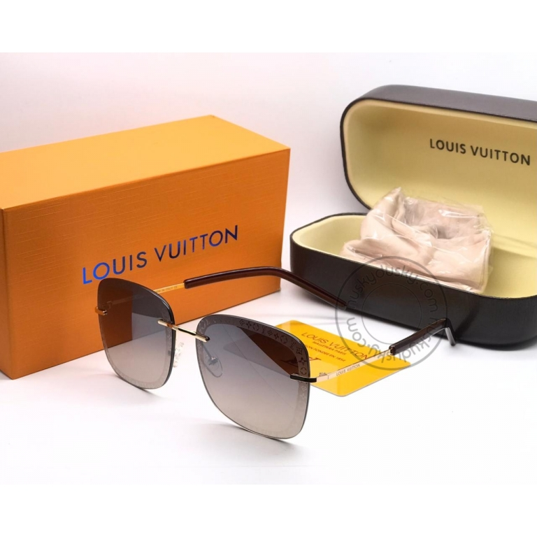 Louis Vuitton Branded Brown shade Glass Men's and Women's Sunglass for Man and Woman or Girls LV-142 Gold And Black Frame Unisex Gift Sunglass