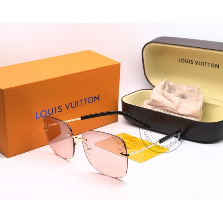 Louis Vuitton Branded Pink Glass Men's and Women's Sunglass for Man and Woman or Girls LV-140 Gold And Black Frame Unisex Gift Sunglass