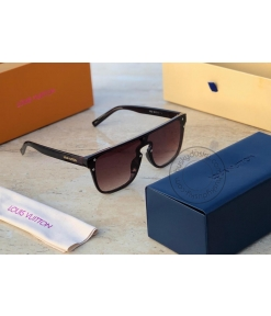 Louis Vuitton Branded Brown Glass Men's and Women's Sunglass for Man and Woman or Girls LV-2457 Black Frame Unisex Gift Sunglass