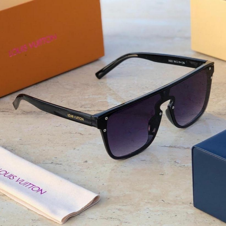 Louis Vuitton Branded Black Glass Men's and Women's Sunglass for Man and Woman or Girls LV-2456 Black Frame Unisex Gift Sunglass