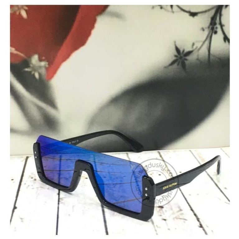 Louis Vuitton Branded Blue Rectangle Glass Men's and Women's Sunglass for Man and Woman or Girls LV-185 Black Frame Gift Sunglass