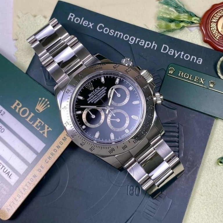 ROLEX Chronograph Automatic Silver Strap Men's Watch For Man RLX-116520LN Black Dial Gift Watch