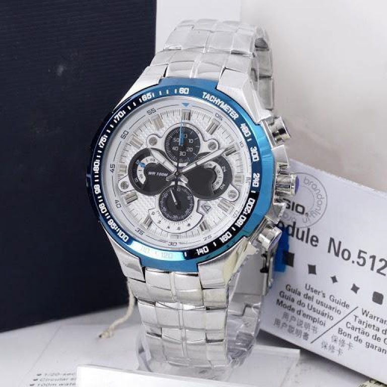 Imported Metal Chronograph Silver Blue Dial Men's Watch Efr 554D 7Avudf