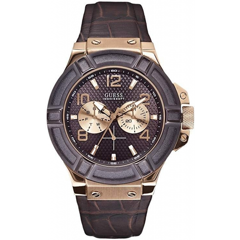 Guess Analog Brown Dial Leather Men's Watch for Man W0040G3 (Gift)