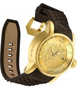 Invicta Mens 12790 S1 Rally Yakuza Brown Silicon Strap Watch For Man Dragon Design Gold Dial- Best Gift