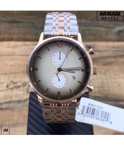 Emporio Armani Chronograph Silver and Gold tone Strap men's Watch For Men AR1721 Gift Best watch