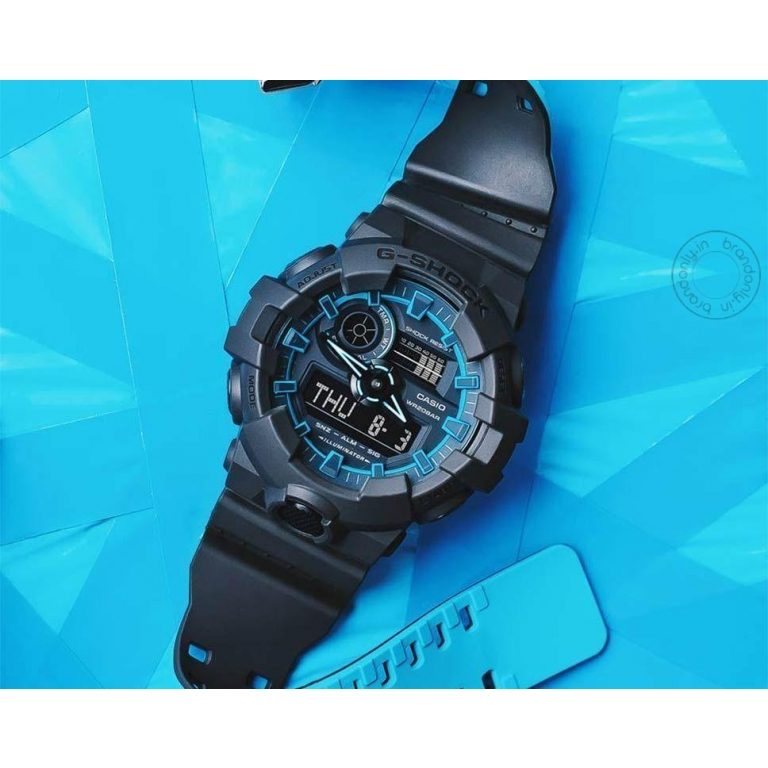 Casio G-Shock Analog Digital Black & Blue Belt Men's Watch For Man GA-700SE-1A2DR Multi Color Dial Day And Date Gift Watch