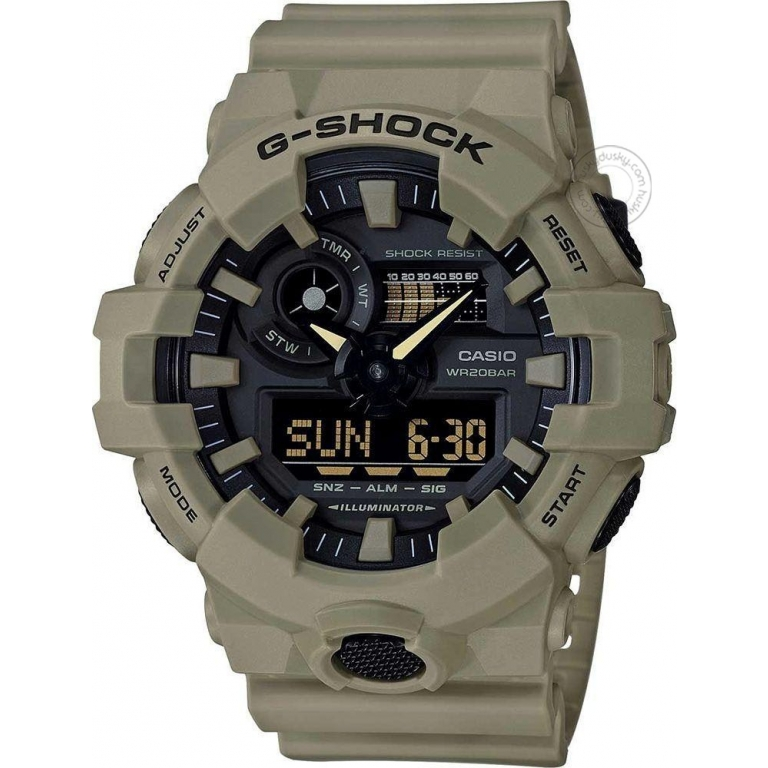 Casio G-Shock Analog Digital Military Color Belt Men's Watch For Man GA700UC-6A Black Color Dial Day And Date Gift Watch