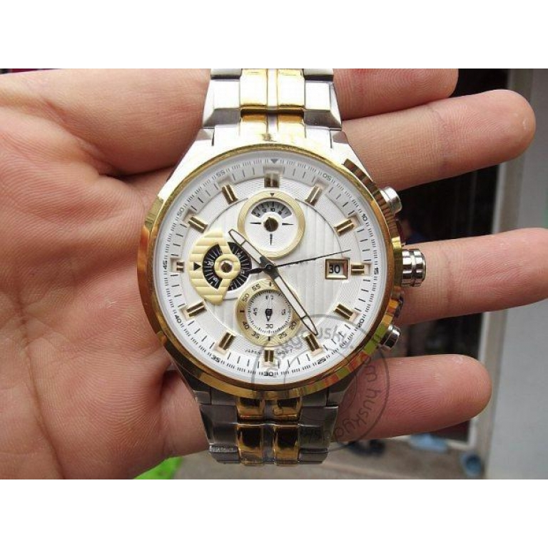 Imported Chronograph Men's Watch Silver Gold Metal ED426 Watch for Man 556SG