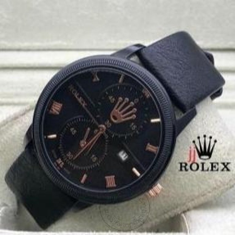 Rolex Black Leather Men's Watch For Man RLX-2-05 Black Dial Black Case Date Gift Watch