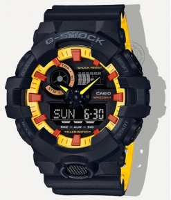 Casio G-Shock Analog Digital Black & Yellow Belt Men's Watch For Man GA-700BY-1APR Multi Color Dial Day And Date Gift Watch