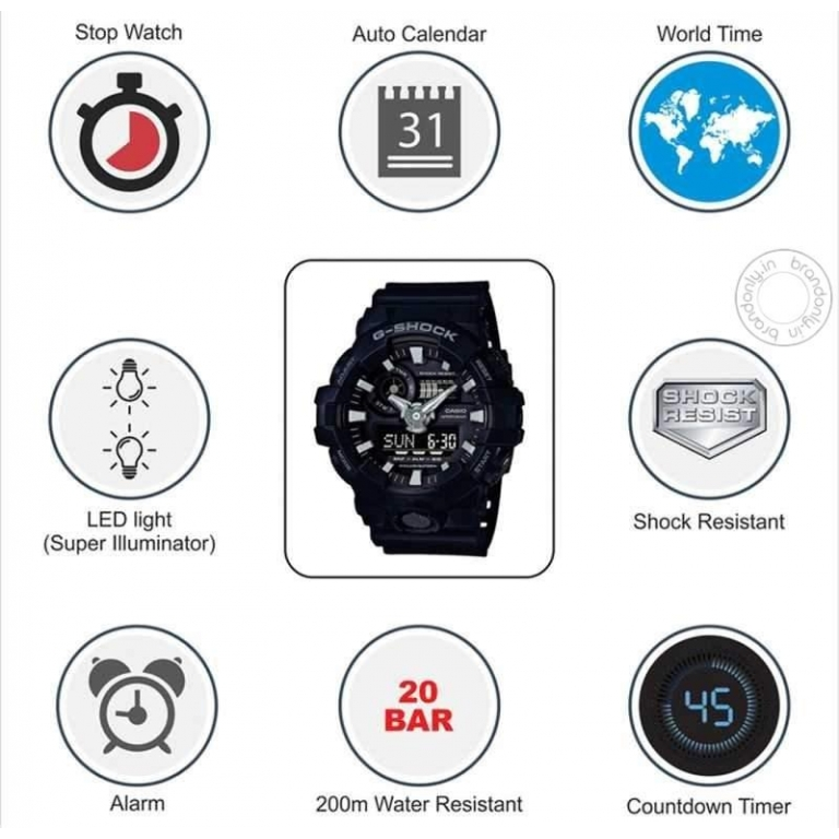 Casio G-Shock Analog Digital Grey Belt Men's Watch For Man G738 G-Shock ( GA-710-1ADR ) Grey Color Dial Day And Date Gift Watch