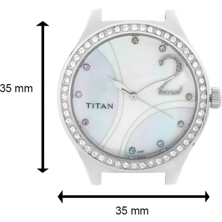 Titan Multi Color Dial Watch For women's 9744SL03 With Diamond Case White Leather Gift Watch For Woman