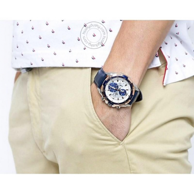 Imported Chronograph Blue White Men's Leather Watch 539l 7CV