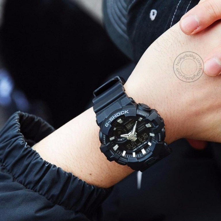 Casio G-Shock Analog Digital Black Belt Men's Watch For Man GA-700-1BDR (G715) Multi Color Dial Day And Date Gift Watch