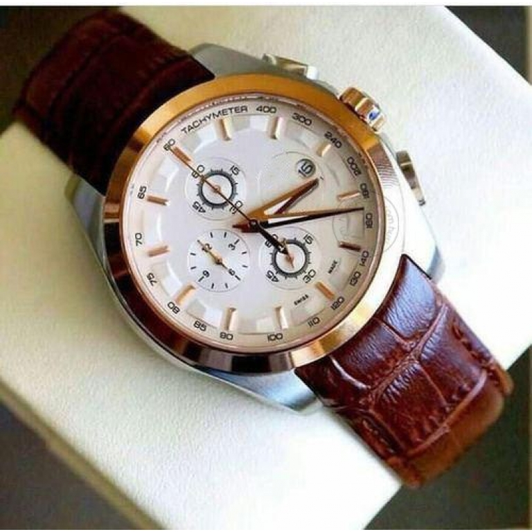 Imported TS_384L Chronograph Brown Leather Mens Watch for Man White Date Display Best Gift for Man