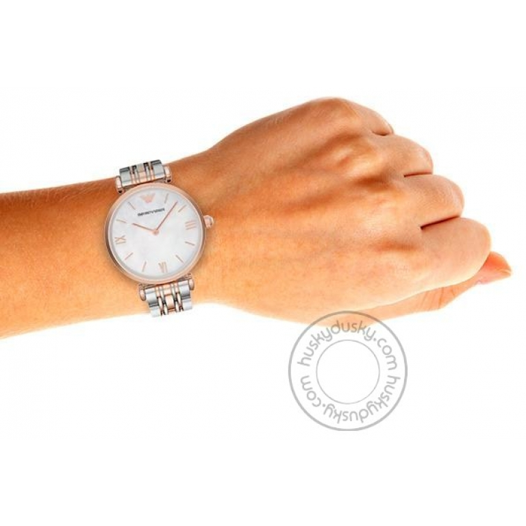 Emporio Armani Watch AR1683 Silver Dial Gold Silver Strap For Women-Best gift