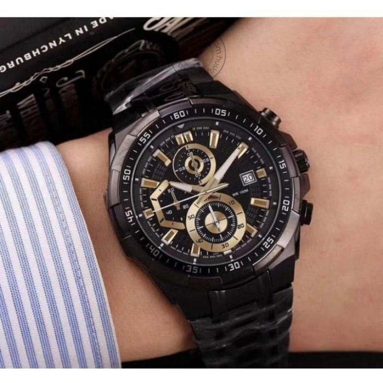 Imported Chronograph Men's Watch Black Gold 539Bk