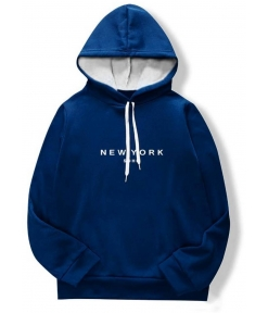 Blue Cotton Printed  Long Sleeves Hoodies For Men Fine Quality Material