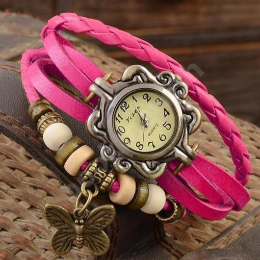 Vintage Round Dial Pink Synthetic Leather Strap Analog Watch For Women