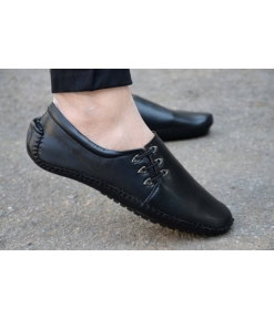 Solid Black Faux Leather Casual Shoes For Men Special Design