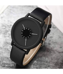 Black Synthetic Leather Wrist Watch For Men And Women
