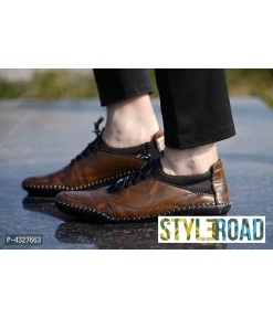 Men's Stylish Brown Solid Synthetic Casual Unique Design Shoes