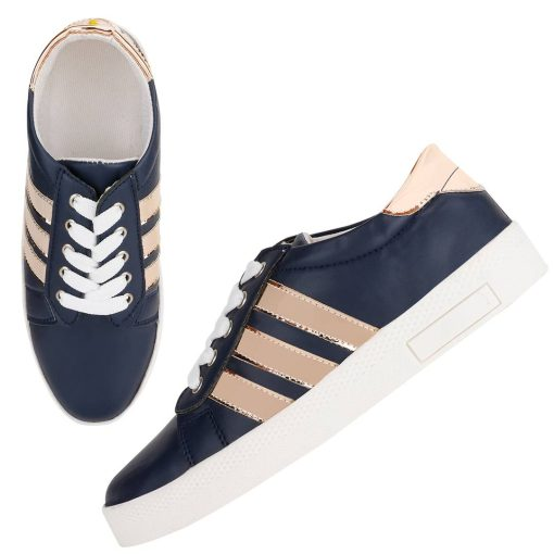Women's Stylish and Trendy Blue Striped Synthetic Casual Sneakers