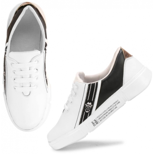 Women's Stylish and Trendy White Printed Synthetic Casual Sneakers